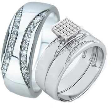 3 Pieces His & Hers SOLID 925 Sterling Silver Wedding Engagement Ring Set