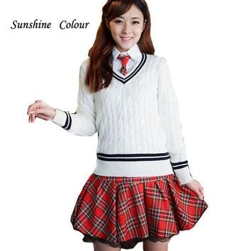 100% Cotton School Uniform for Girls V Neck Women Sweaters And Pullovers Korea Preppy Style Fashion Christmas Sweater Pullovers