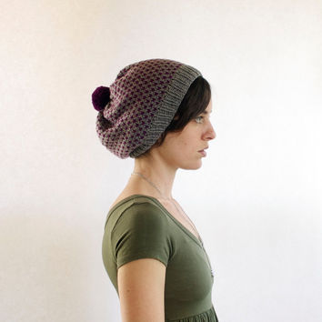 Slouchy Knitted Hat with Pom Pom - Retro Dots - Fuschia & Grey