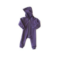 Oversized Fleece Jumpsuit Plum