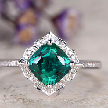 Emerald engagement diamond ring,Solid 14k white gold,promise ring,7mm Cushion Cut Green emerald halo ring custom made fine jewelry,art deco Ring