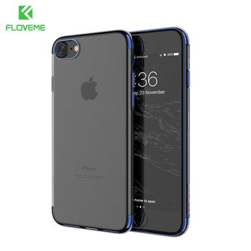 FLOVEME For iPhone X For iPhone 6 6S Plus Case Luxury Transparent Plating TPU Phone Case For iPhone 8 7 Plus Silicon Accessories