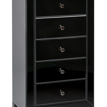 Office Star Black Glass Reflections 5 Drawer Accent Table