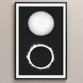 1890 Solar Eclipse Chromolithograph Print Wall Art, Total Eclipse 1869, Space Poster, Astronomy Art, Wall Decor, Archival Reproduction,