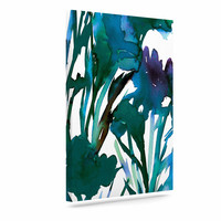 """Ebi Emporium """"Petal For Your Thoughts Teal"""" Turquoise Green Canvas Art"""