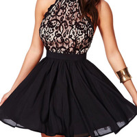 Black Halter Strappy Back Lace Skater Dress