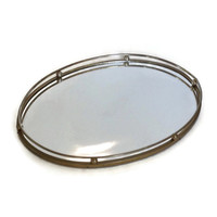 Vintage Mid Century Vanity Tray, Oval, Gold with Mirror, Retro Decor, Boudoir, Dressing Table