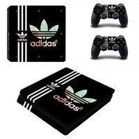 For Adidas PS4 Slim Skin Sticker Decal For Sony PS4 PlayStation 4 Slim Console and 2 C