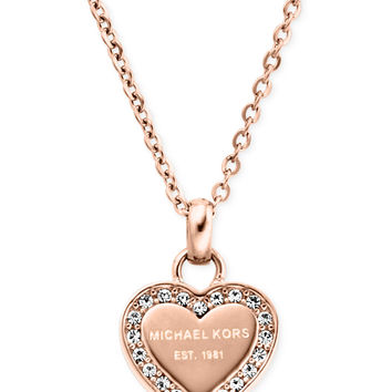 Michael Kors Crystal Heart Pendant Necklace