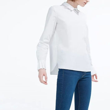 White Pleated Long Sleeve Peter Pan Collar Pull Over Top