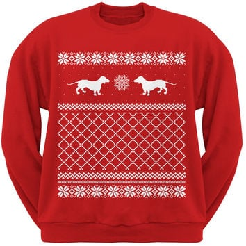 Dachshund Ugly Christmas Sweater Red Adult Crew Neck Sweatshirt