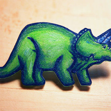 Green Triceratops // brooch