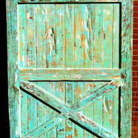 Sliding Barn Door - Reclaimed Pine - Turquoise/White Distressed Finish - 60 X 84