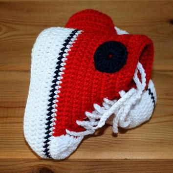 Handmade baby crochet converse style high top booties in red white & navy blue Bamboo