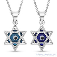 Evil Eye Bead Star of David Charm Pendant Sterling Silver Judaica Magen Necklace