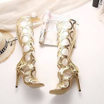 New Sexy Knee High Gladiator Sandals Women Cut outs 11 cm High Heels Shoes Woman PU Leather Summer Boots Gold