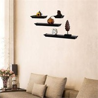 Adeco Black Wood 4-Piece Wall Shelves Decorative Horizontal Display Platform