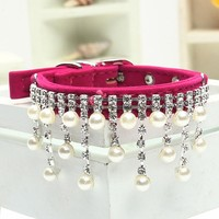 2016 Bling Crystal Pearl Cats Necklace Pet Collars for Dog Clothes Jewelry Dogs Accessories Puppy Product Red Pink Black S M L
