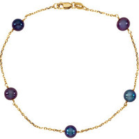 """14kt Yellow Black Pearl 7"""" Necklace"""