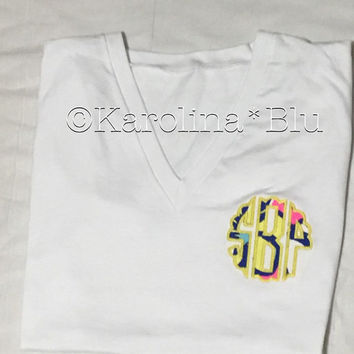 Appliquéd Monogrammed Vneck with Initials or Sorority letters with Lily Pulitzer fabric.  Several prints to choose from