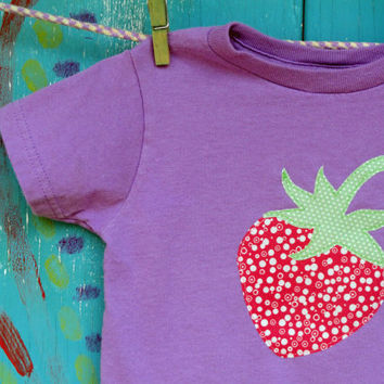 Girl's Shirt, Strawberry Appliqued Tshirt, Short Sleeve Purple Shirt, Sizes 2t, 3t, 4t, 5/6, 7, MADE-TO-ORDER