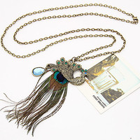 Luxurious Peaccok Feather Gemstone Necklace, Birthday Gifts, Valentine's Day Gifts, Party Jewelry, Handcrafted Jewelry 10011059