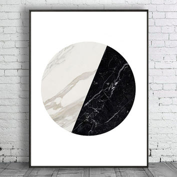 Marble Print Instant Download Geometric Art Circle Print Black and White Modern Art Marble Minimal Marble Decor Scandinavian Print