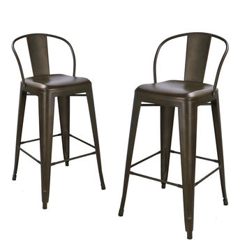 Bronze Metal Bar Stools With Back (Set of 2)