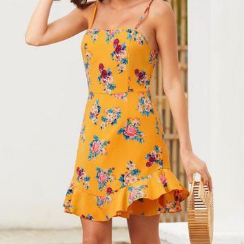 Summer Fashion Women Floral Print Sleeveless Flounce Sling Dress Yellow