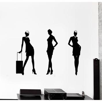 Vinyl Wall Decal Stewardess Women Travel Airplane Fly Aircraft Stickers Mural (g503)
