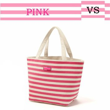 One Shoulder Pink Stripes Tote Bag [12149131155]