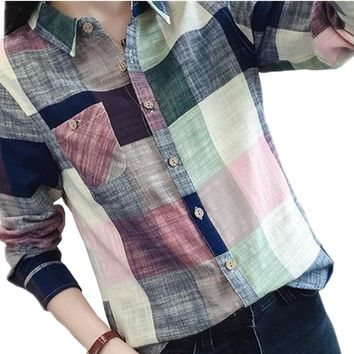 Casual Plaid Women Blouses Kimono Vintage Linen Cotton Long Sleeve Blouse Female Shirts Tops Camisa Feminina Chemise Femme