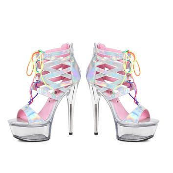 Ellie Shoes E-609-Caprice Sandal With Rainbow Laces