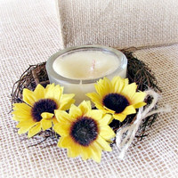 Sunflower Candle Ring, Flower Floral Candle Ring, Primitive Twig Candle Ring, Sunflower Wedding Centerpiece, Country Rustic Wedding Decor