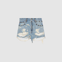 Gucci Shredded bleached denim shorts