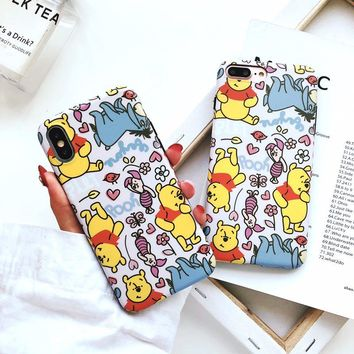 New Cute Pooh Bear Scrub soft silicon cover case for iphone 6 S 7 7plus 8 8plus X XR XS MAX eeyore Buttercup piglet phone cases