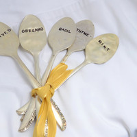 FIVE Vintage Spoon Garden Herb Markers, Antique Silver Plated, Hand Stamped.