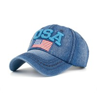 Women Men USA Denim Rhinestone Baseball Cap