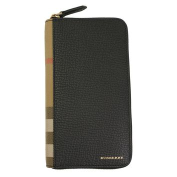 Burberry Uni Black Leather Zip Around Wallet