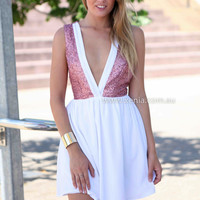 VISION OF LOVE DRESS , DRESSES, TOPS, BOTTOMS, JACKETS & JUMPERS, ACCESSORIES, 50% OFF SALE, PRE ORDER, NEW ARRIVALS, PLAYSUIT, COLOUR, GIFT VOUCHER,,White,Sequin,SLEEVELESS,MINI Australia, Queensland, Brisbane