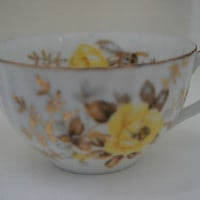 Japanese Porcelain Tea Cup 1930's Floral with Yellow Roses Gold Accents