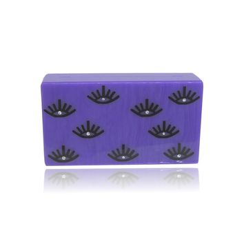 Fall Trendy Purple Eye Lash Acrylic Box Clutch