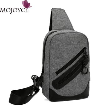 Men Canvas Messenger Bag USB Charging Laptop Chest Pack Casual Travel Chest Bag Fashion Designer Men Small Crossbody Back Pack