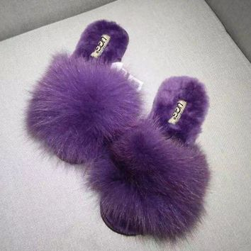 ONETOW UGG Sheep fur one word drag the new autumn/winter slippers plush Purple