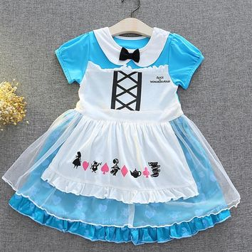 2018 Summer Alice in Wonderland Baby Girls Dress Children Tutu Birthday Party Cosplay christmas costumes infant infant clothi