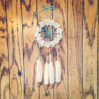"3"" Floral Gold Glitter Dream Catcher"