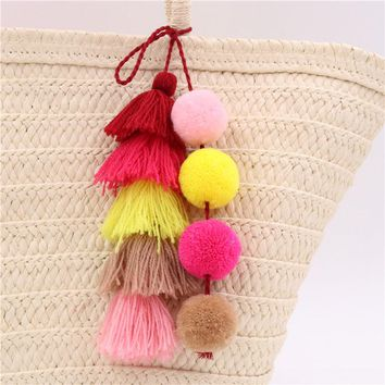 1pc Colorful Boho Pom Pom Key Chain Bag Accessories Tassel Bag Purse Rainbow Charm Keychain summer jewelry