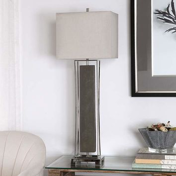Uttermost Sakana Rubbed Gray Faux Shagreen Buffet Table Lamp - #66Y45 | Lamps Plus