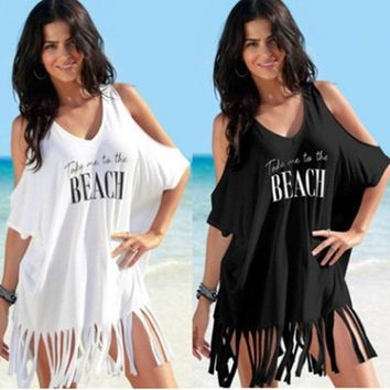 STYLEDOME Summer Tassel Loose Women Cotton Dress White Black Sexy Off Shoulder Print Letters Take Me To The Beach Dress Holiday Outfit