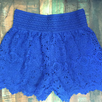 Wagon Wheel Lace Crochet Shorts Royal Blue